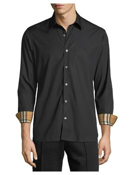 Men's William Signature Check Facing Sport Shirt by Burberry