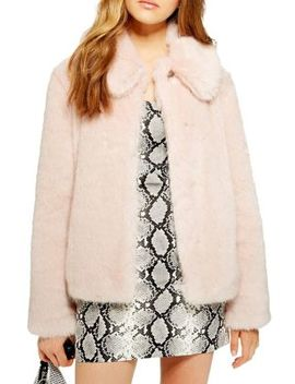 Faux Fur Collared Coat by Topshop