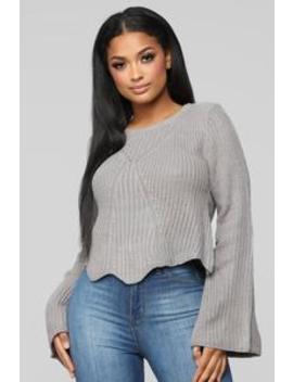 Cozy And Glam Sweater   Grey by Fashion Nova