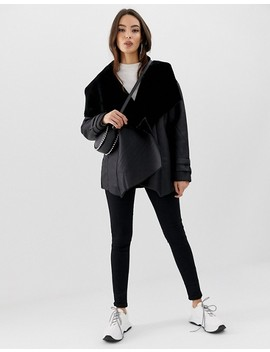 Missguided Waterfall Shearling Jacket by Missguided