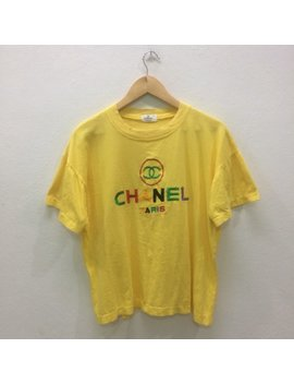 Rare !! Vintage Chanel T Shirts Embroidery Multicolour Logo Nice Design Fashion Sytle by Etsy