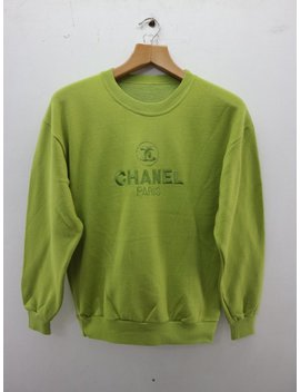 Vintage Chanel Paris Big Embroidery Logo Sweatshirt Runway Fashion Tommy Ck Designer Swag Wear Sweater by Etsy