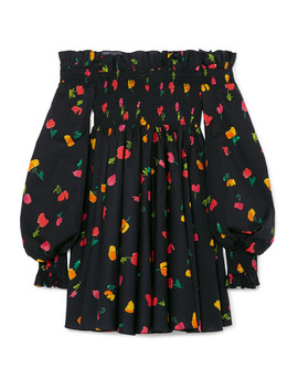 Kora Off The Shoulder Printed Cotton Blend Mini Dress by Caroline Constas