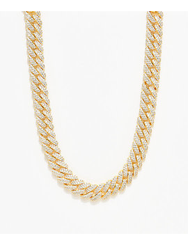 "The Gold Gods 12mm Flooded Diamond 18"" Cuban Chain Necklace by The Gold Gods"