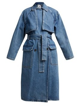 Oversized Denim Trench Coat by Msgm