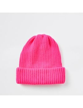 Neon Pink Fisherman Knit Beanie Hat by River Island