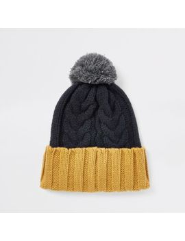 Navy Block Cable Knit Bobble Beanie Hat by River Island