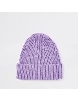 Purple Fisherman Beanie Hat by River Island