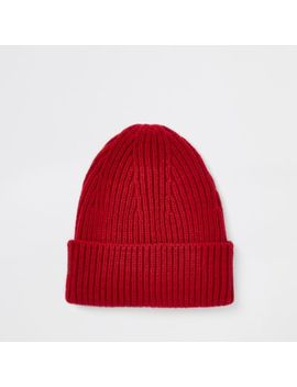 Red Fisherman Knit Beanie Hat by River Island