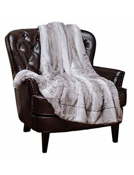 Chanasya Super Soft Fuzzy Fur Elegant Throw Blanket | Faux Fur Falling Leaf Pattern With Fluffy Plush Sherpa Cozy Warm Grey Microfiber Blanket For Bed Couch Living Bed Room   Grey And White by Chanasya