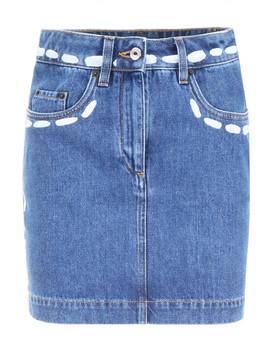 Printed Denim Skirt by Moschino