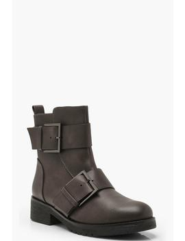Large Buckle Detail Biker Boots by Boohoo