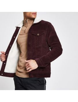 Dark Red Fleece Collar Cord Jacket by River Island