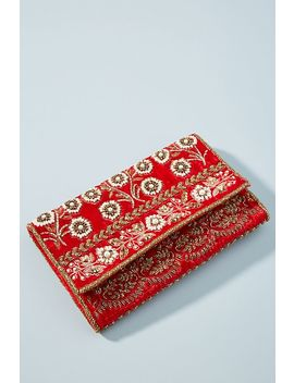 Bella Beaded Velvet Clutch by Anthropologie