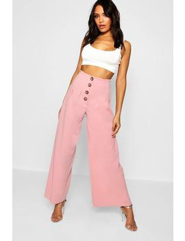 Mock Horn Button High Waist Trouser by Boohoo