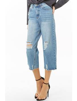 Distressed Wide Leg Capri Jeans by Forever 21