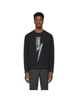 Navy Scribble Lightning Bolt Sweatshirt by Neil Barrett