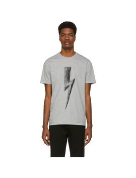 Grey Scribble Lightning Bolt T Shirt by Neil Barrett