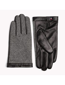 Herringbone Leather Gloves by Tommy Hilfiger