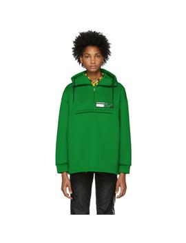 Green Tech Zip Up Hoodie by Prada