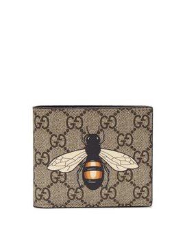 Gg Supreme Bee Print Bi Fold Wallet by Gucci