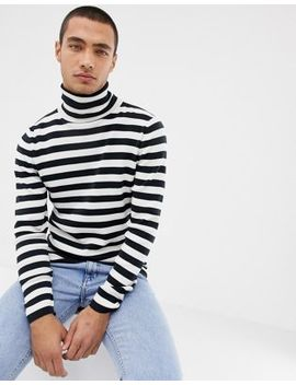 Selected Homme Roll Neck Stripe Long Sleeve Top by Selected Homme