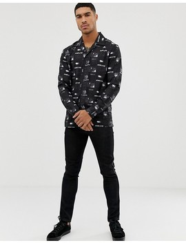 Liquor N Poker Revere Collar Shirt With Picture Print In Black by Liquor N Poker