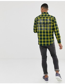 Bershka Check Shirt In Yellow With Printed Plastic by Bershka