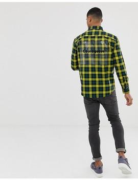 bershka-check-shirt-in-yellow-with-printed-plastic by bershka