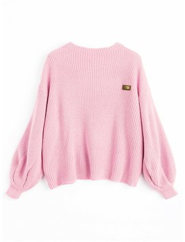 Zaful Oversized Chevron Patches Pullover Sweater   Pink by Zaful