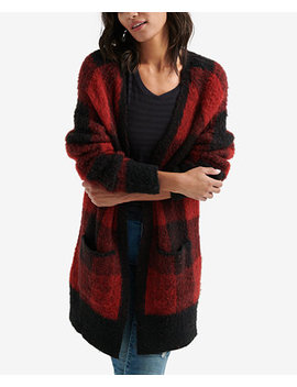 Patch Pocket Plaid Cardigan by Lucky Brand