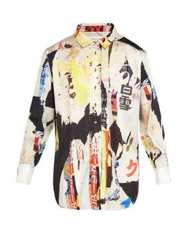 Oversized Printed Satin Shirt by Marques'almeida