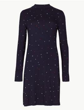 Jersey Print Long Sleeve Swing Midi Dress by Marks & Spencer