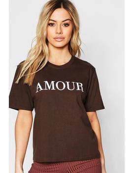 Petite Amour Slogan Tshirt by Boohoo
