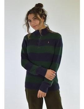 Vintage 90s Green Blue Ralph Lauren Zip Up Sweater Jumper by Polo Ralph Lauren