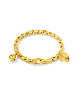 Opk Jewelry 18k Gold Plated Children's Bangle Heart Bell Pendant Rope Chain Gold Bracelets 4.33 Inch by Opk