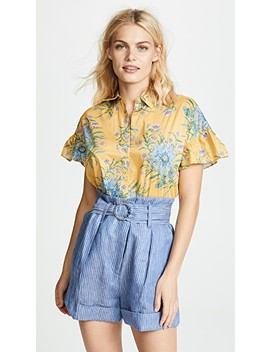 Yellow Van Gogh Floral Printed Ruffle Sleeve Shirt by Madewell