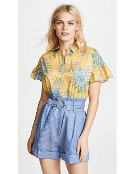 yellow-van-gogh-floral-printed-ruffle-sleeve-shirt by madewell