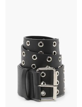 Wide Eyelet Waist Belt by Boohoo