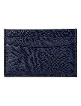 Slim Lizard Embossed Leather Credit Card Case by Aspinal Of London