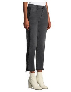 W3 Cora Cropped Straight Leg Jeans W/ Frayed Panels by 3x1