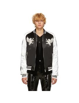 Black & White Satin Bomber Jacket by Balmain