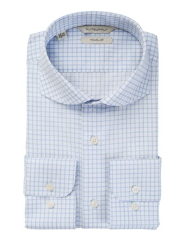 Blue Windowpane Traveller Shirt by Suitsupply