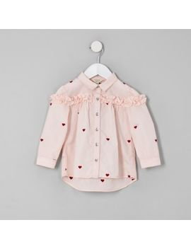 Mini Girls Pink Heart Print Frill Shirt by River Island