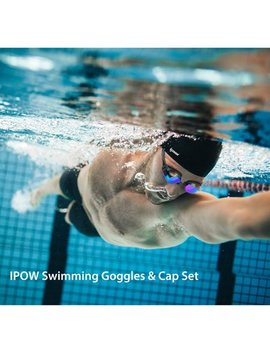 Swimming Goggles And Cap,Ipow Waterproof Silicone Swimming Cap Hat + Anti Fog Swim Goggle Swimming Glasses Set For For Adults Women Long Hair Men Kids Girls Boys Youth, Black by Ipow