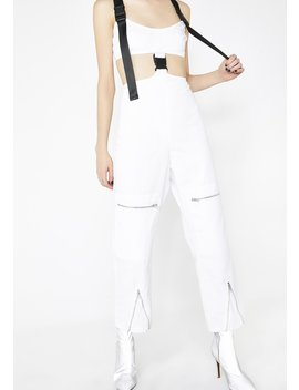 White Cut Out Cargo Jumpsuit by Jaded London