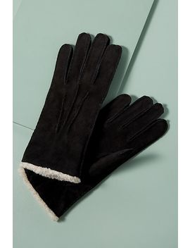 Sheepskin Trimmed Suede Gloves by Anthropologie