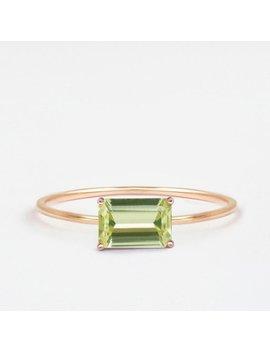 Natural Gemstone Ring, Gemstone Engagement Ring, Green Stone Ring, Emerald Cut Ring, Emerald Cut Engagement Ring, Mali Garnet Ring by Etsy