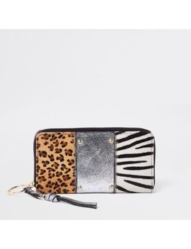 Silver Leather Animal Panel Zip Around Purse by River Island