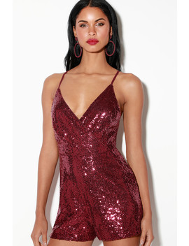 Sparks Will Fly Wine Red Sequin Surplice Romper by Lulu's